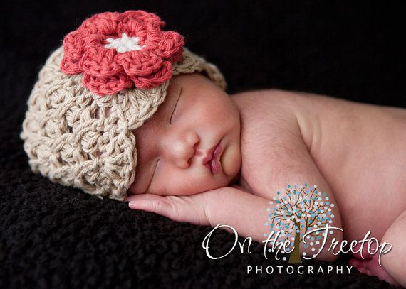 NEWBORN Baby Girl Hat, 0 to 1 Months Baby Girl Crochet Flapper Hat, Beige with Red, Cream Flower. Great for Photo Props. Baby Shower Gift. on Etsy, $22.00