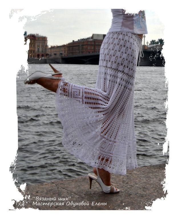 """Юбка """"Элегия"""" - белый,юбка длинная,юбка макси,летняя юбка,юбка крючком"""