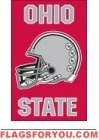 "Ohio State Buckeyes ""helmet"" Applique Banner Flag 44"" x 28"""