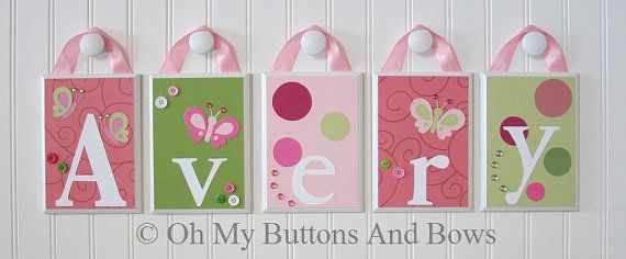 Hanging+Name+Letters.+Nursery+Name+Blocks+.+by+OhMyButtonsAndBows,+$22.00