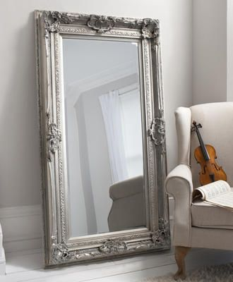 French Silver Louis Leaner Mirror by Alexander and Pearl