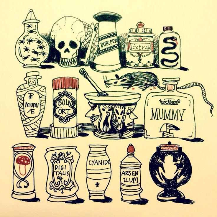 Curio cabinet by Marie Åhfeldt - Mås Illustra. #halloween #illustration