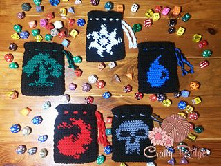 Now you can make a dice bag to match your favorite MTG deck . You can choose from any of the five Mana symbols! Red, Black, White, Green and Blue.