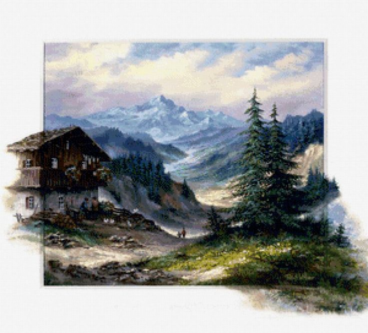 горный пейзаж - Схемы вышивки - Irinyshka - Авторы - Портал «Вышивка крестом»