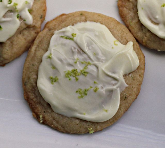 Lime Tarragon Cookies with White Chocolate/Lime Topping
