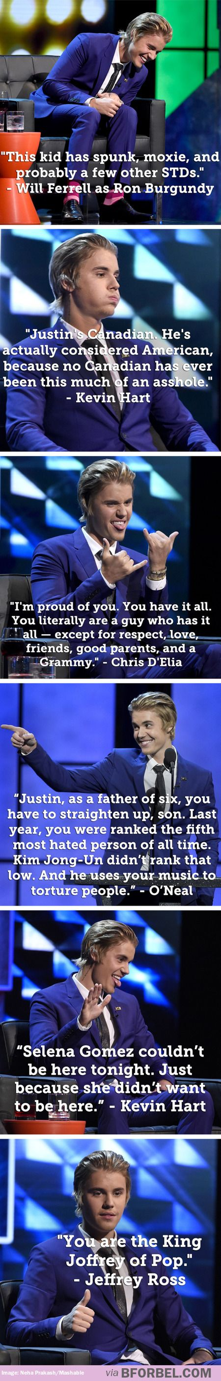 Some of the best jokes from the Justin Bieber roast