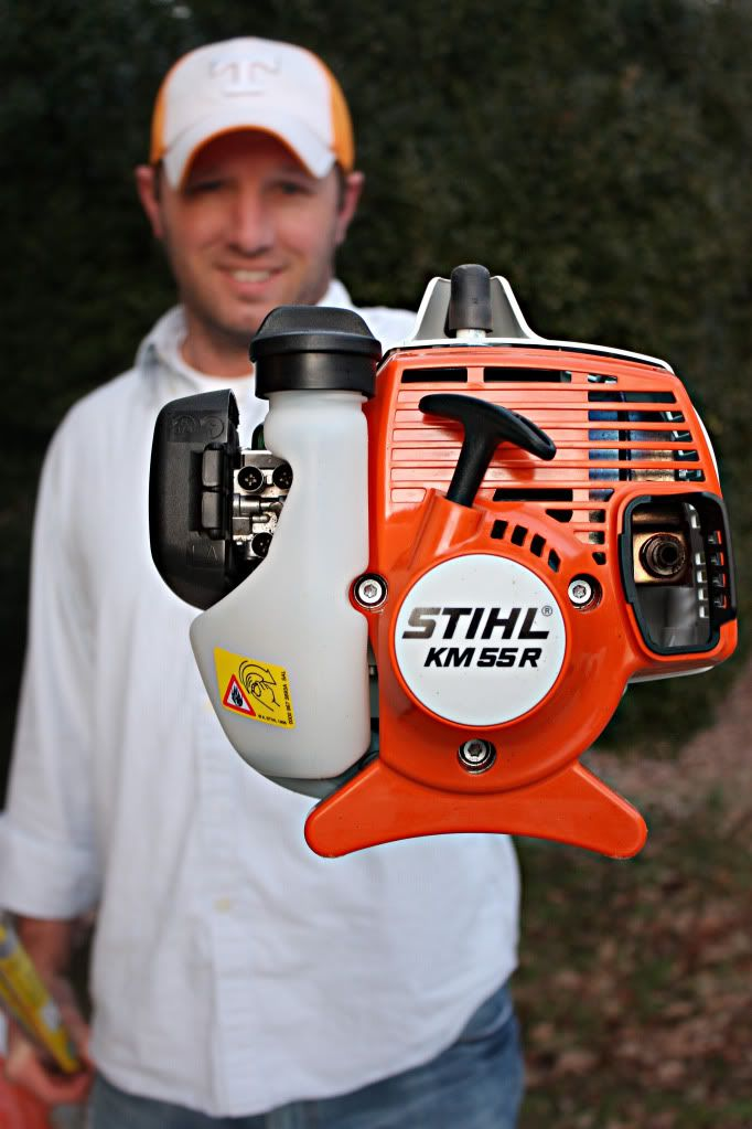Stihl; KM 55R KombiMotor.  (It usually runs around $200  True Value and picked up a Curved Lawn Edger Attachment.