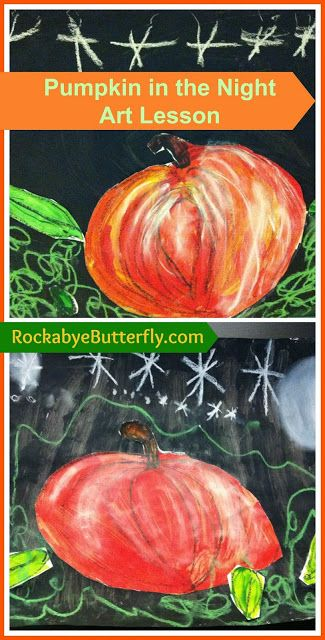 """Pumpkin in the Night Art Lesson. Pair with STEM lesson about parts of a pumpkin or the book """"From Seed to Pumpkin"""" for an Art/Science connection."""