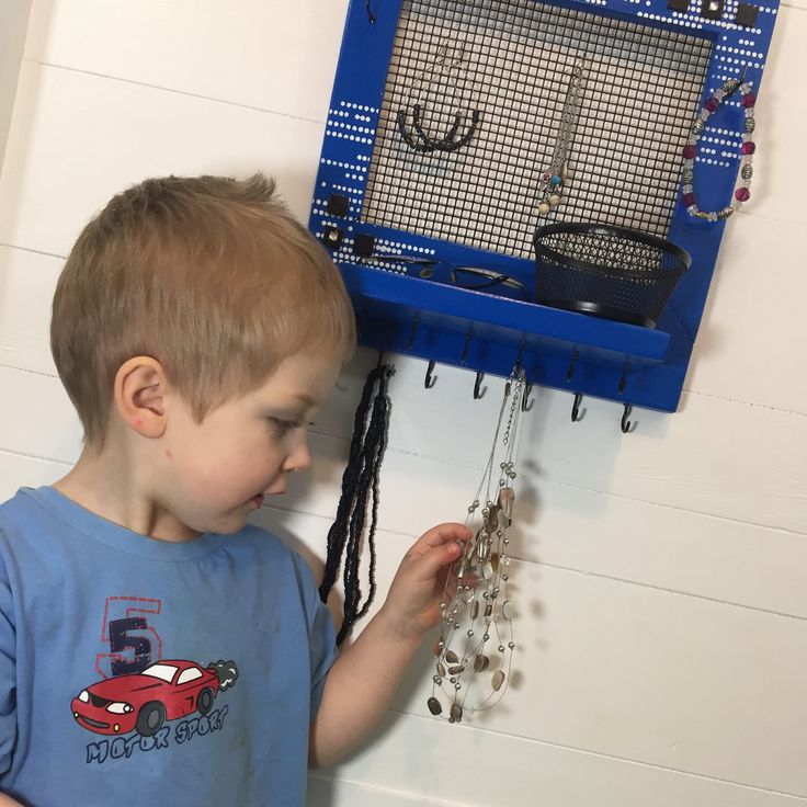 """FINALLY got around to finishing a few projects today! Check out this wonderful blue jewelry frame. And of course my wonderful little helper too. """"Mommy, I like blue"""""""