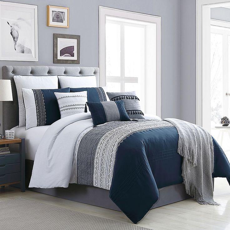 Hilden 10-Piece California King Comforter Set In Navy/grey