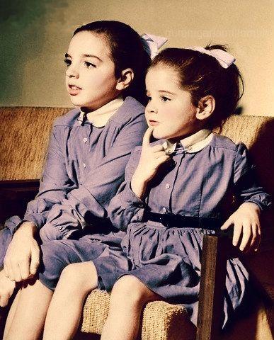 Liza Minnelli and sister, Lorna Luft ~ 1956