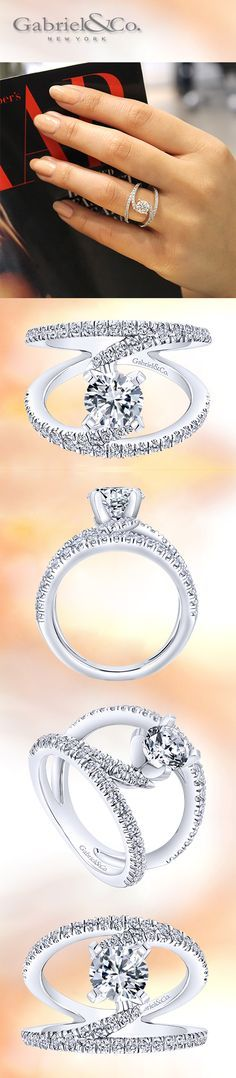 Gabriel & Co. - The original 14k NOVA Renewal White Gold Round-Cut Diamond French Pave Split Shank Engagement Ring.