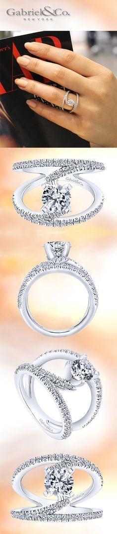 Gabriel & Co. - The original 14k NOVA Renewal White Gold Round-Cut Diamond French Pave Split Shank Engagement Ring.