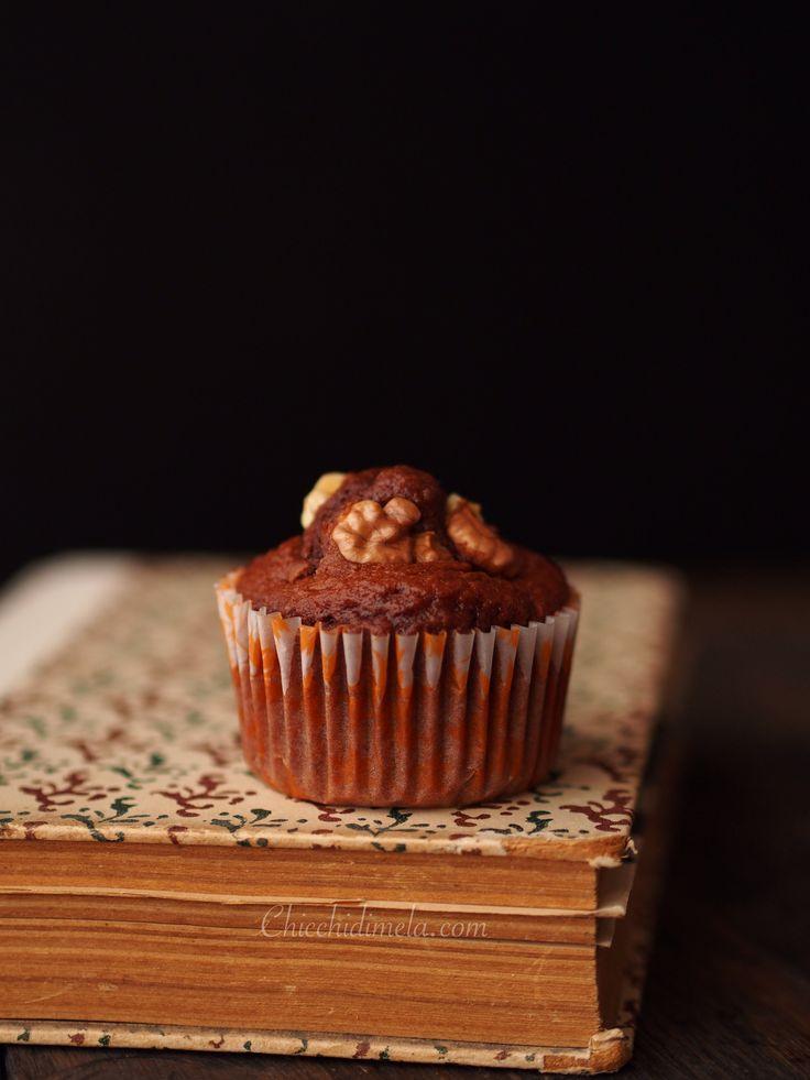 Muffin al cacao e noci! Sul blog la ricetta.  Chicchidimela.com