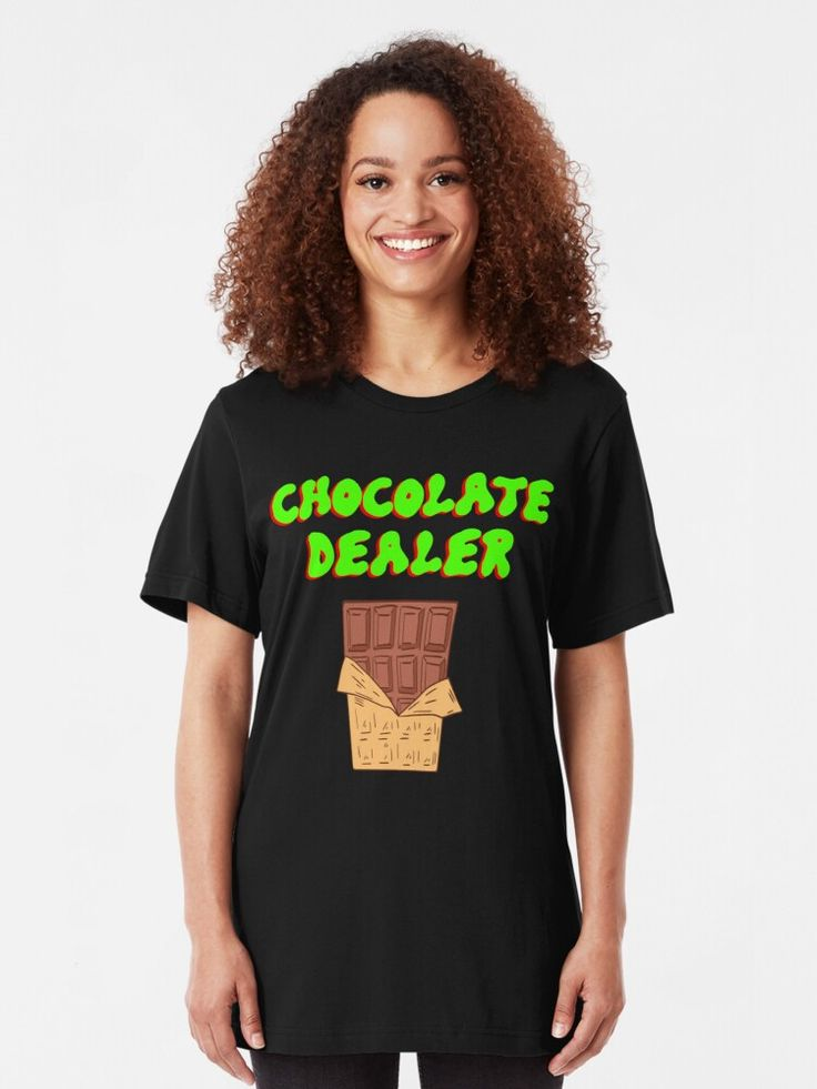 'Chocolate dealer. Funny quote. Delicious yummy sweet chocolate bar. Gift ideas for cocoa and chocolates lovers. Addicted to chocolate. Sweet tooth.' T-Shirt by MerveilleDesign