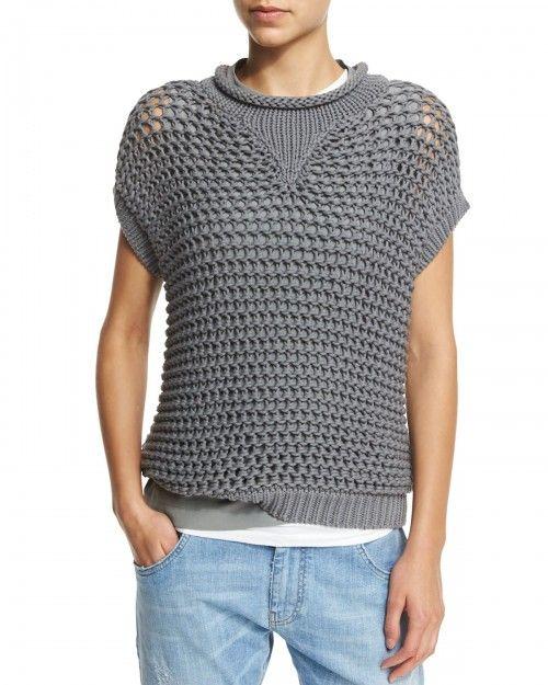 Brunello Cucinelli Short Sleeve Crochet Pullover Top Slate Grey Women's   Clothing