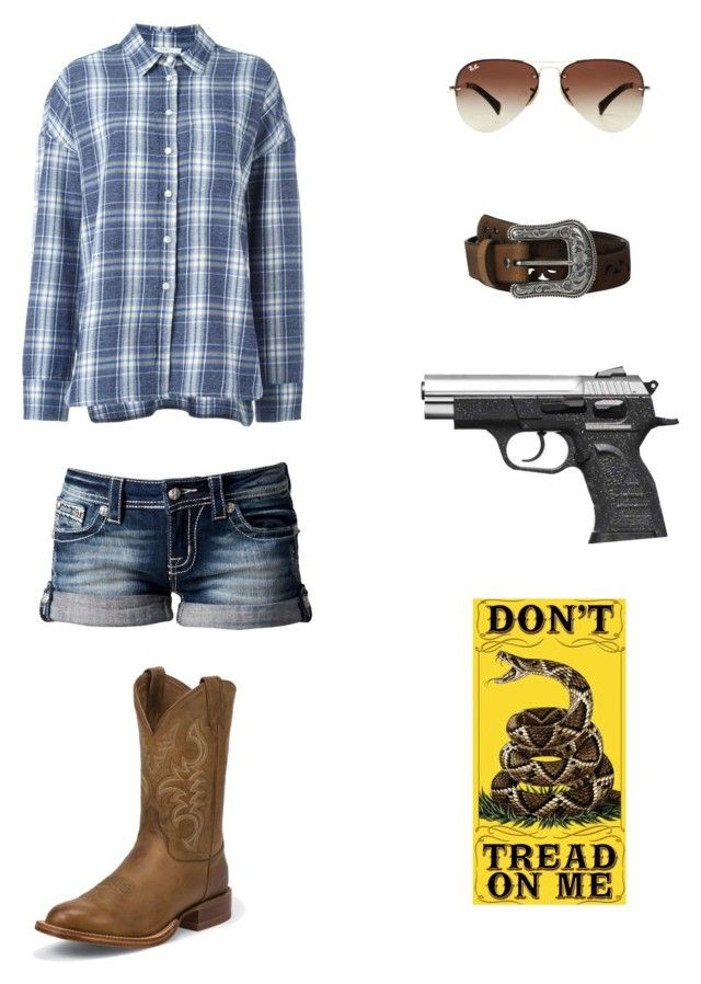 """""""Don't Tread On Me"""" by lindsseyk ❤ liked on Polyvore featuring Miss Me, Ray-Ban, 6397, Ariat and Justin Boots"""
