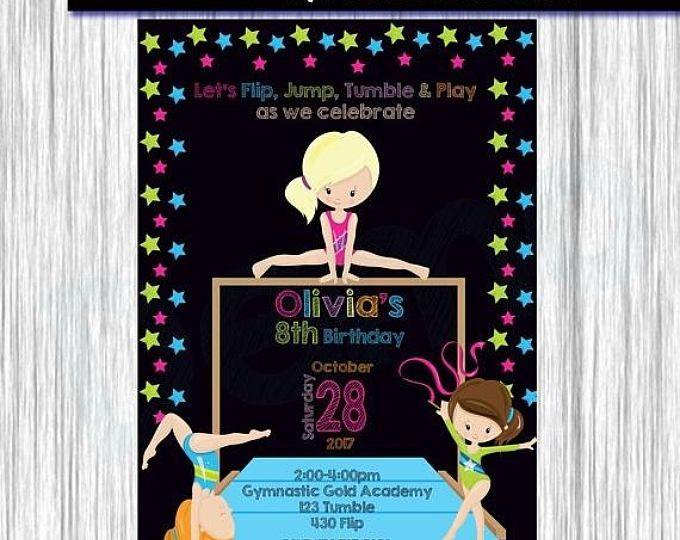 50% de descuento gimnasia invitación niña gimnasia invitación, invitación de cumpleaños niña, invitar a gimnasia, partido gimnasia, pizarra, gimnasia