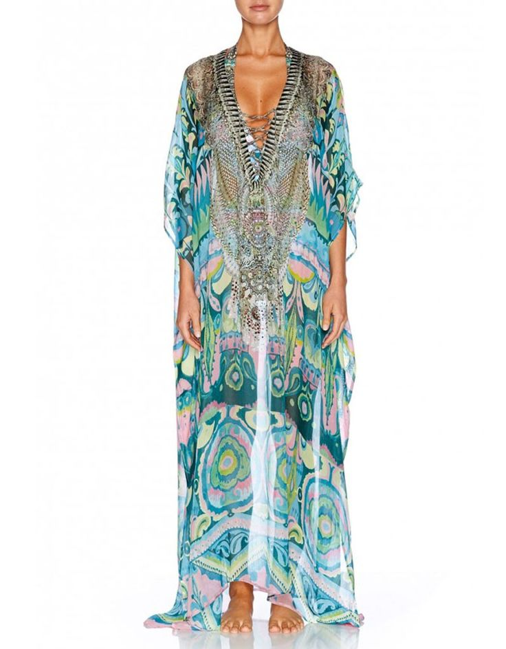 Camilla Long Lace-Up Kaftan in Plaza Nueva