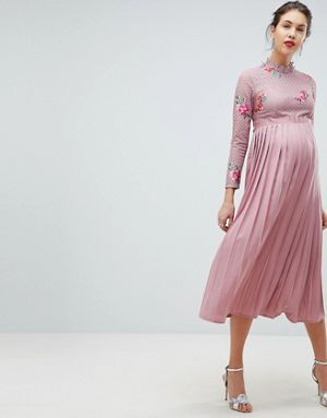 897768109f83b Little Mistress Maternity Embroidered Lace Top Midaxi Dress With Pleated  Skirt