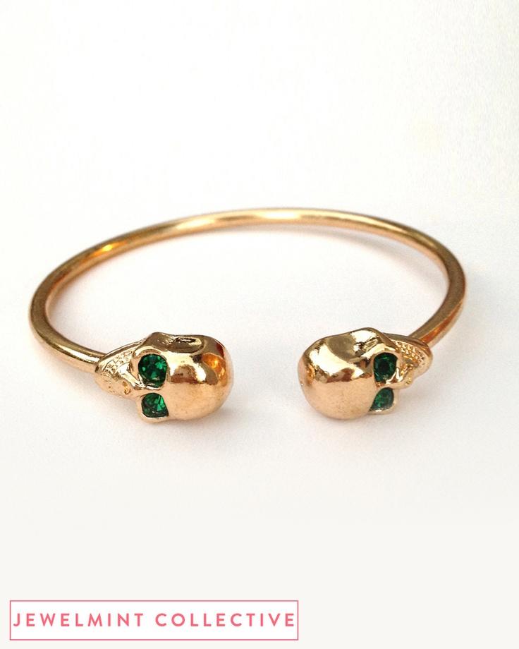 Emerald Green Skull Bangle - JewelMint