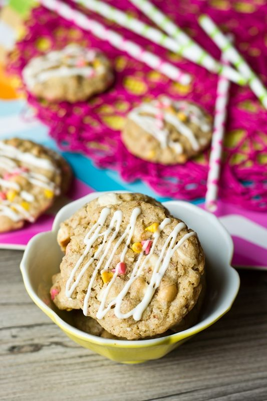 Spanish Peanut Cookies. You'll love these sweet and salty cookies made with spanish peanuts and potato chips. Throw in whatever kind of baking chips that you'd like!
