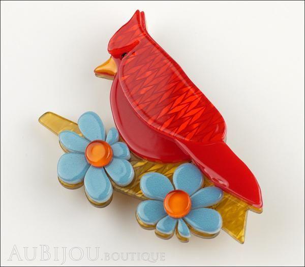 Erstwilder Bird Brooch Pin Ruby the Red Cardinal Multicolor Front