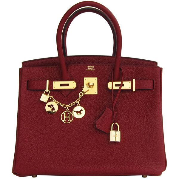 Pre-owned Hermes Rouge H 30cm Birkin Gold Hardware GHW Red Regal ($22,950) ❤ liked on Polyvore featuring bags, handbags, purses, bolsas, borse, handbags and purses, hermes birkin bags, top handle bags, hermes purse and top handle handbags