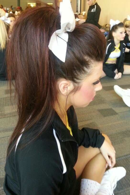 I , Rachel Stewart, love Kristina and her hair is amazing to get to do!! I took this picture and I teased her hair!! woooh!! love my team !! <3 #ultimateathleticsofohio #Elite #letsgettoworldsladies!