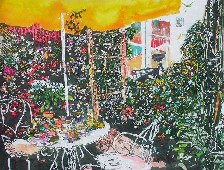 "secluded backyard paris (4)   17"" x 22""  micheal zarowsky / watercolour on arches paper / available $900.00"