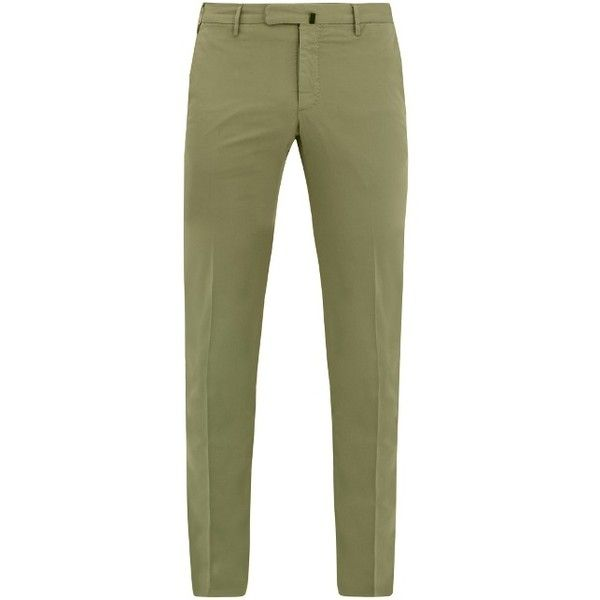 Incotex Slim-fit chino trousers ($252) ❤ liked on Polyvore featuring men's fashion, men's clothing, men's pants, men's casual pants, green, mens green pants, mens green chino pants, mens chinos pants, mens slim pants and mens slim fit pants