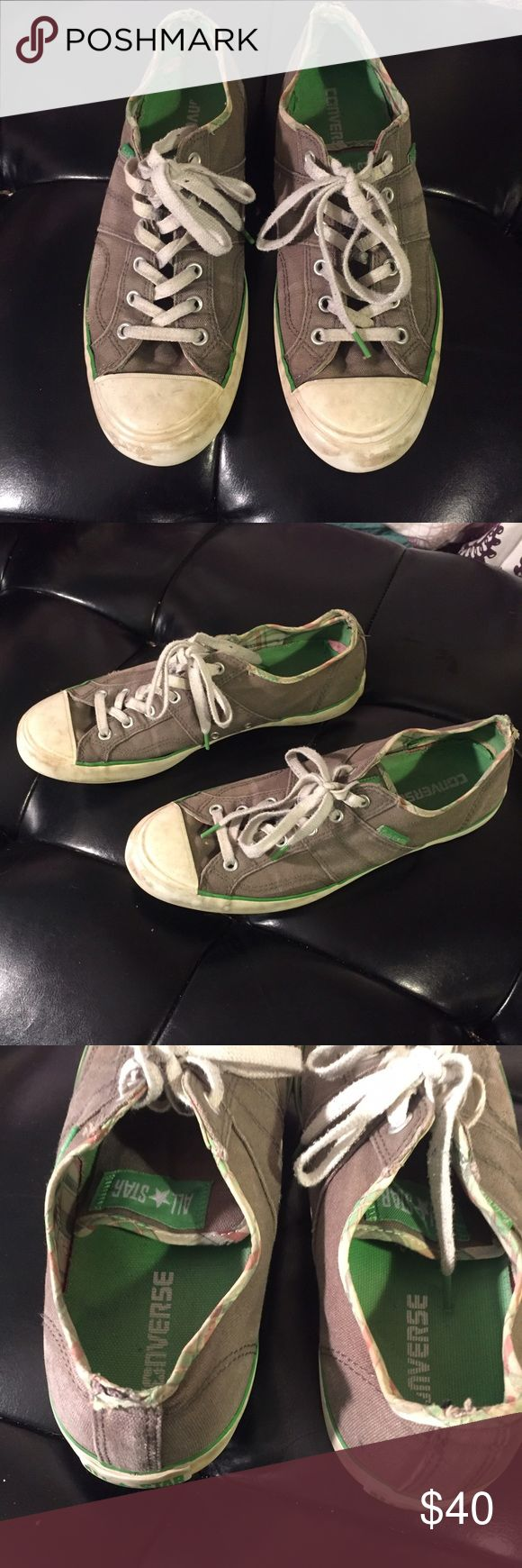 LADY ALLSTARS CONVERSE. Gray. Used but still looks great. Minimal discoloration on the white parts. Shoe laces have black stains not very visible. Green interior. Overall these still look great. Converse Shoes Sneakers