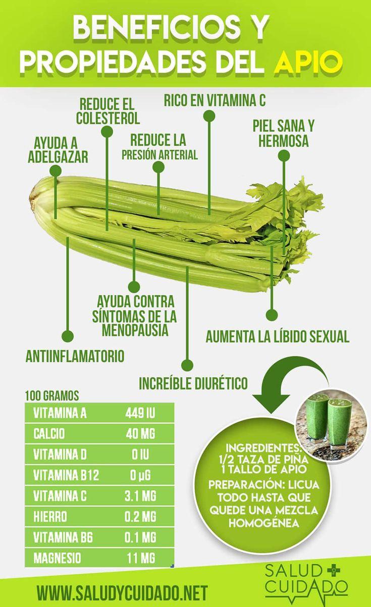 Beneficios del apio y propiedades #infografia #salud #beneficios #alimentos #propiedades