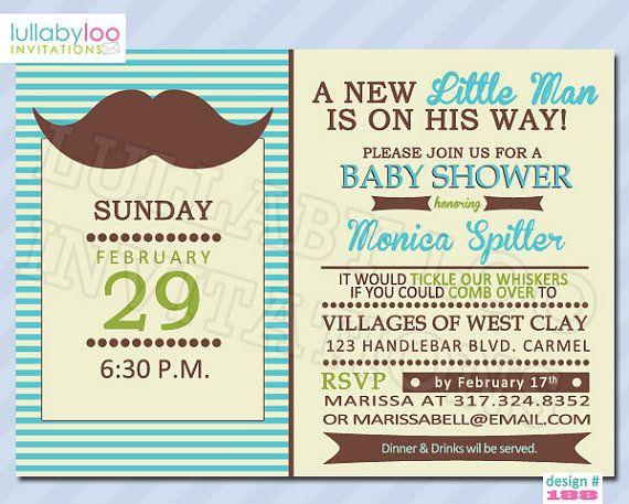 Little Man Mustache Baby Shower Invitations (188). $18.00, via Etsy.