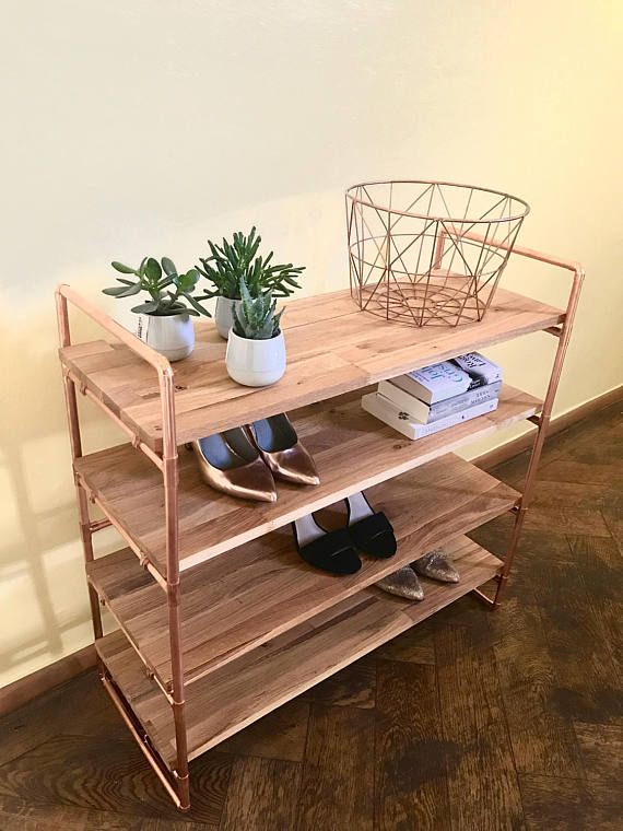 Shoe rack copper tube oak wood white shelf bookshelf dresser Shoe Rack Oak Wood White Copper Pipe Industrial DIY – Raphaela *