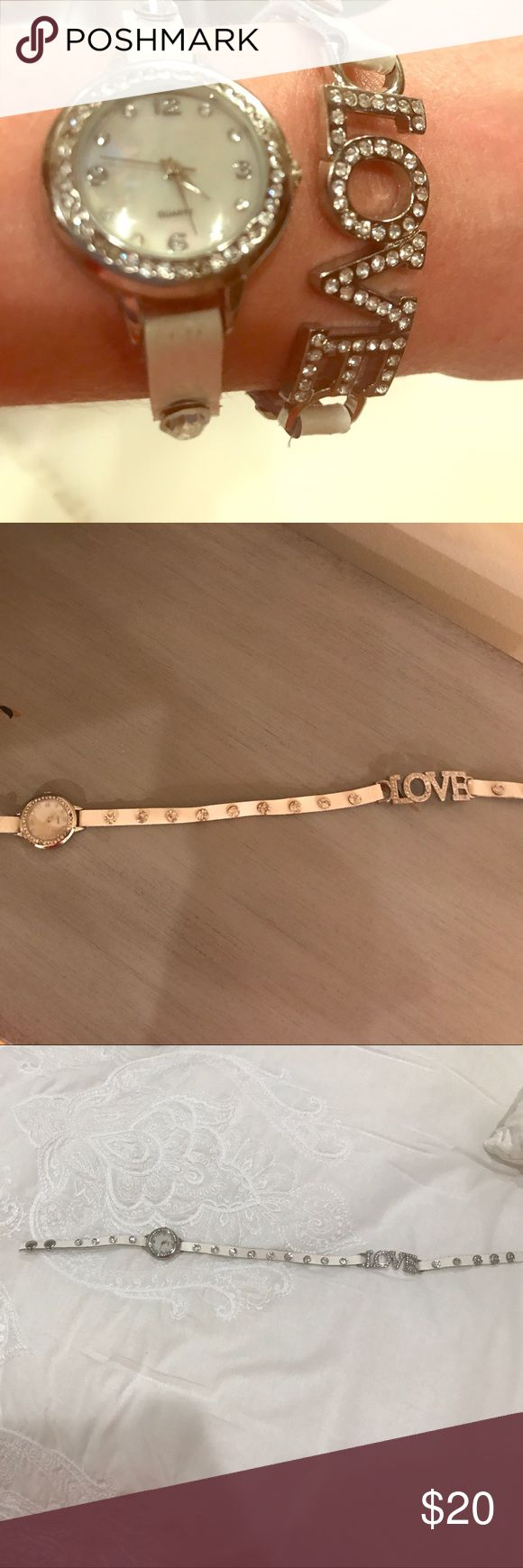 """Wrap-Around Watch A cute watch that fits multiple wrist sizes. It wraps around wrists twice and is very comfortable. Worn once. A great present for a friend or yourself! Has jewels on the rim of the clock and on the """"love"""". I hope you love this watch! Claire's Accessories Watches"""