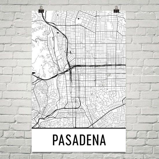 Pasadena Map Art Print, Pasadena CA Art Poster, Pasadena Wall Art, Pasadena Gift, Map of Pasadena, Pasadena Print, Birthday, Modern, Art
