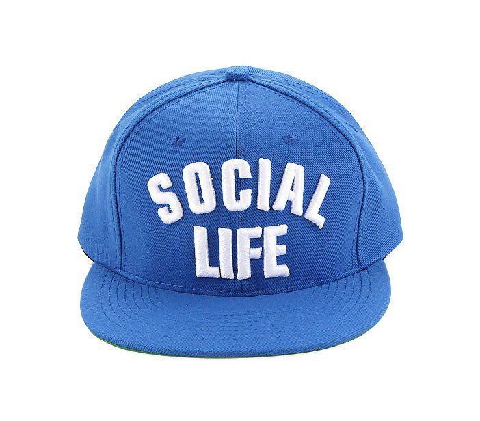 "Social Life Cap by Social Jetlag. ""Social Life"" typography embroidery on this blue hat,  this canvas hat has a eye catching color, adjustable strap. Hat that suitable for your casual look. Cool accessories for your street style. http://www.zocko.com/z/JFqjW"