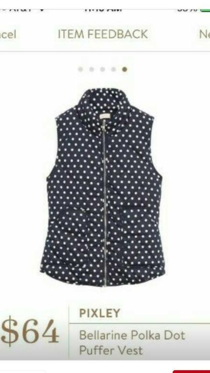 Pixley Bellarine Polka Dot Puffer Vest-- this is seriously adorable! I'd love some polka dots, Megan!