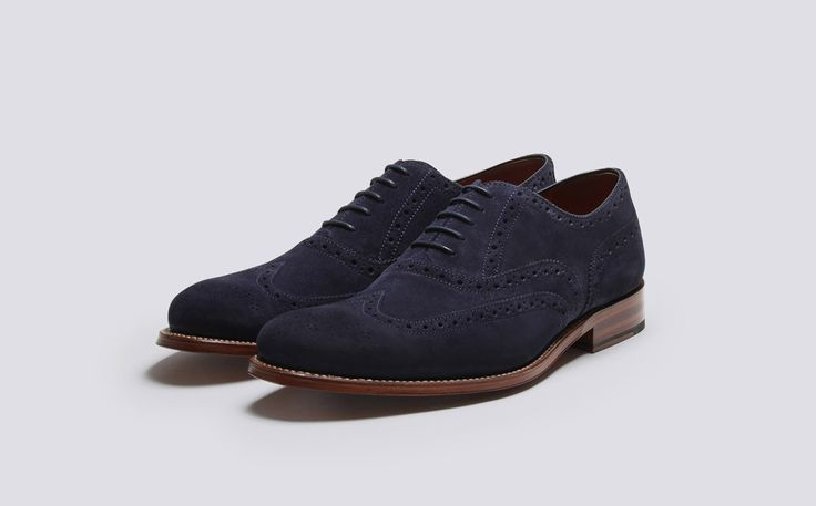 Mens Oxford Brogue in Navy Suede with a Leather Sole | Dylan | Grenson Shoes - Three Quarter View