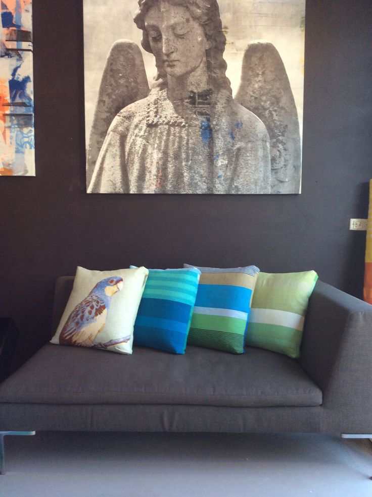 Angel Artwork - Hand screen printed. Cushions in Sansoni striped fabric and hand screen printed Rosella, sewn in Melbourne, Australia. Available online or at our Gertrude Street Store or email:  info@spacecraftaustralia.com  #pillow #cushion #artwork
