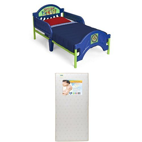 Delta Children Plastic Toddler Bed, Nickelodeon Ninja Turtles  with Twinkle Stars Crib & Toddler Mattress