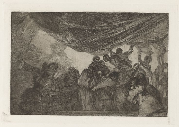 Francisco Goya, Spanish, 1746–1828 Disparate claro (Clear Folly), also known as Sin recomendarse a Dios ni al diablo (Without Commending Himself Either to God or the Devil), from the series Los disparates (Los proverbios)  ca. 1816–19, published 1864 (first edition) Etching, burnished aquatint and lavis platemark: 24.5 x 35 cm (9 5/8 x 13 3/4 in.) The Arthur Ross Collection 2012.159.40.16
