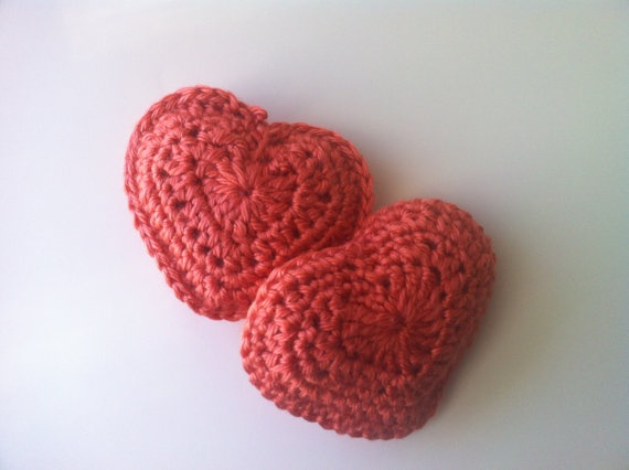 Scented Crocheted Heart Pocket Warmers  Coral by CrochetTherapist, $12.00