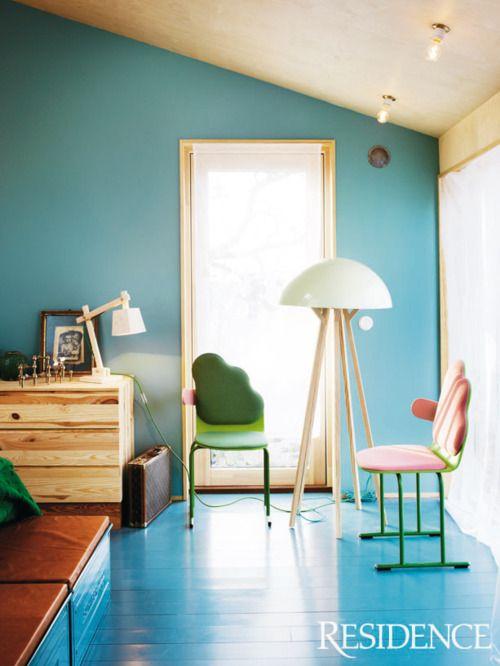 painted blue floors via residence magazine #home