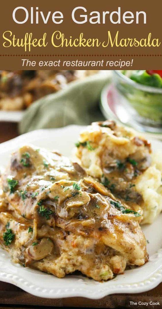 Olive Garden Stuffed Chicken Marsala #Chicken #ChickenRecipes #OliveGardenStuffe…