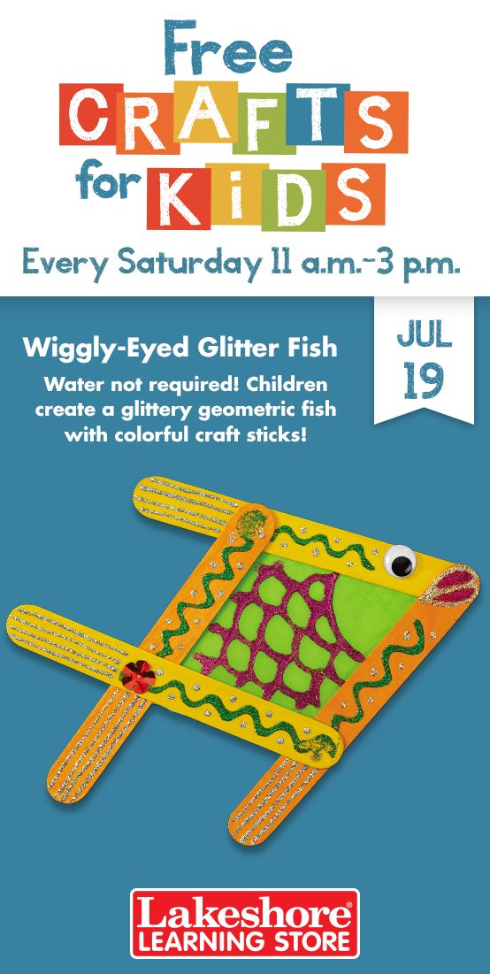 #FreeCraftsforKids on July 19, from 11 a.m. to 3 p.m.! Water not required! Children create a glittery geometric fish with colorful craft sticks! #Lakeshore #Learning