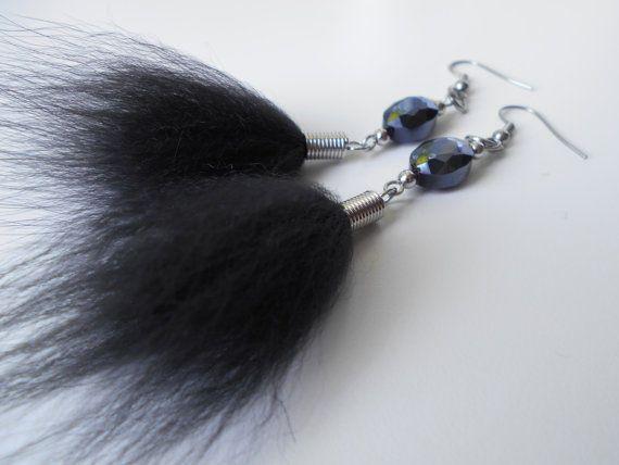 Boucles d'oreilles en fourrure charcoal et par NoiRNoiReCollection
