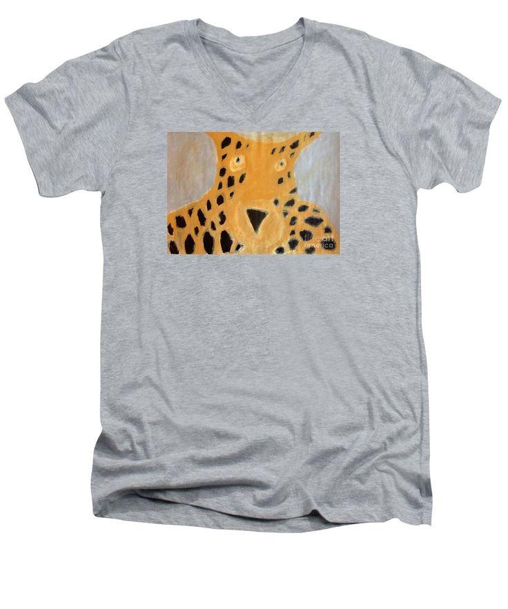 Patrick Francis V-Neck T-Shirt featuring the painting Cheetah 2014 by Patrick Francis