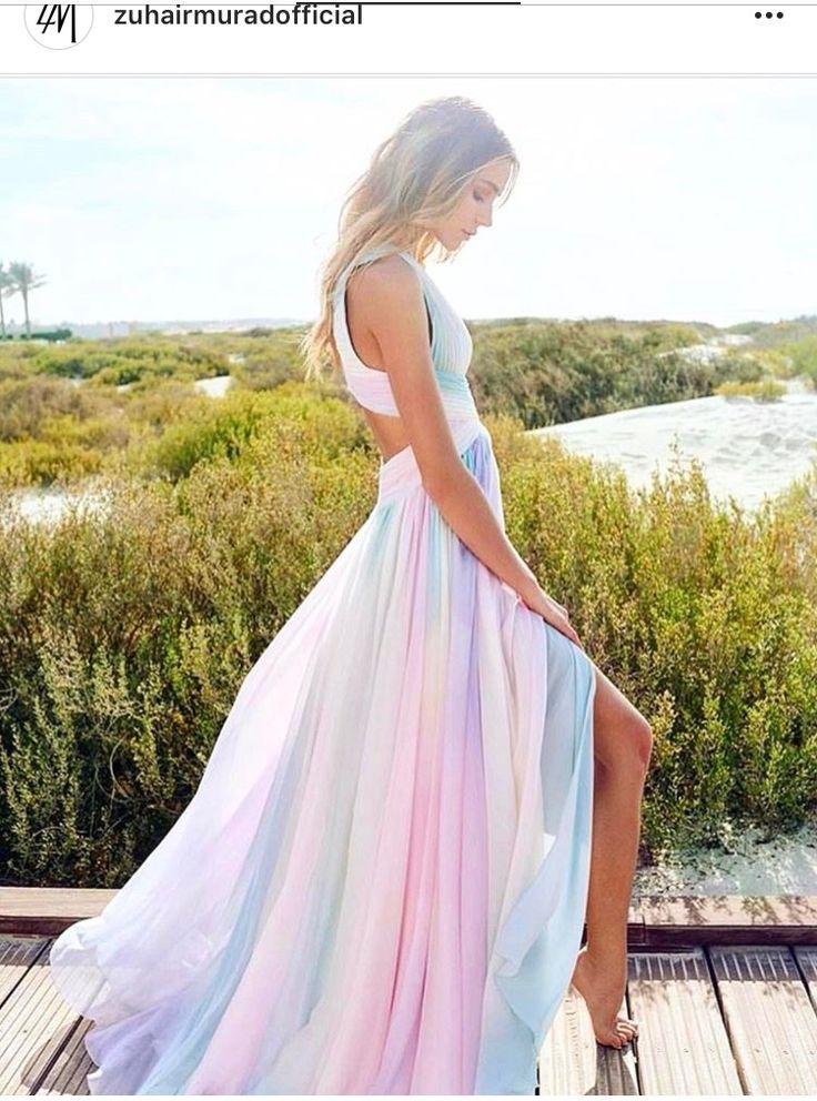Zuhair Murad rainbow pastel maxi dress 2017